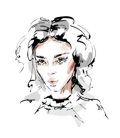 Hand drawn beautiful young woman face. Female face with makeup. Beautiful girl. Sketch. Vector illustration.