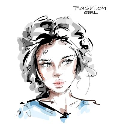 Hand drawn beautiful young woman face. Stylish girl. Fashion woman look. Sketch.
