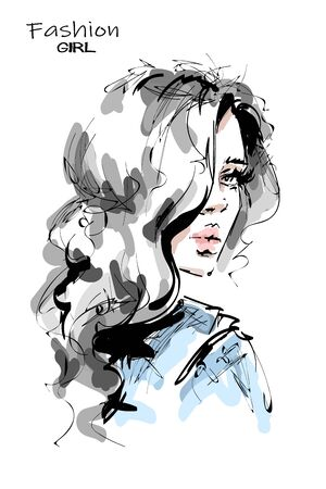 Hand drawn stylish beautiful young woman with long blonde hair. Beautiful girl. Fashion look. Sketch. Vector illustration.