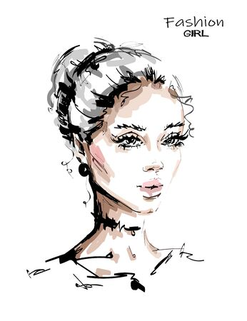 Hand drawn beautiful young blonde hair woman. Stylish female face. Fashion woman. Sketch. Vector illustration.
