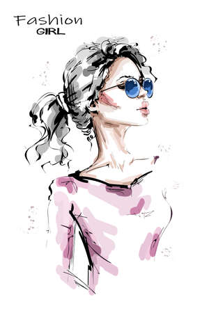 Hand drawn beautiful young woman with ponytail. Stylish blonde hair girl. Fashion woman look. Female character in sunglasses. Sketch.