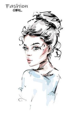 Hand drawn beautiful young woman with cute hairstyle. Stylish girl. Fashion woman look. Sketch.