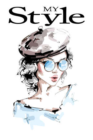 Hand drawn beautiful young woman in cap. Stylish girl in sunglasses. Fashion woman look. Beautiful female face. Sketch. Vector illustration.