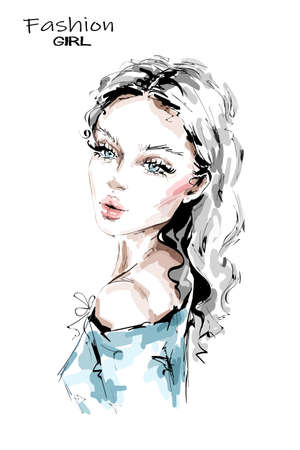 Hand drawn beautiful young woman with long blonde hair. Stylish girl. Fashion woman look. Beautiful female face. Sketch.
