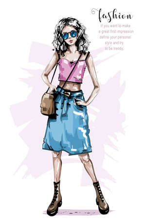 Hand drawn beautiful young woman with bag. Stylish girl in jeans skirt. Fashion woman look. Sketch.