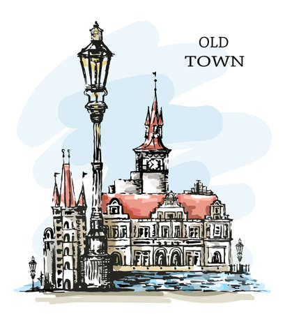 Hand drawn old town. Beautiful town view. Old architecture. Cute buildings, vintage lantern and bay. Sketch. Beautiful landscape. Vector illustration.