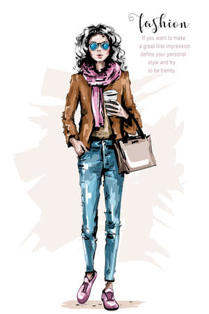 Hand drawn beautiful young woman with bag. Stylish girl in casual clothing. Fashion woman look. Female outfit. Sketch. 일러스트