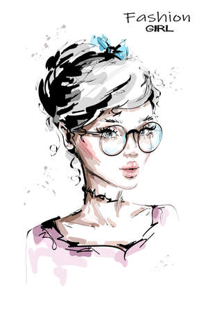 Hand drawn beautiful young woman in eyeglasses. Stylish girl with bow in her blonde hair. Fashion woman look. Sketch. Vector illustration.