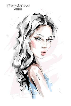 Hand drawn beautiful young woman with long hair. Stylish girl. Fashion woman look. Sketch. Vector illustration. Vectores