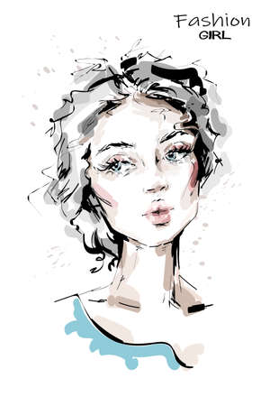 Hand drawn beautiful young woman with blue eyes. Stylish girl. Fashion woman face. Sketch. Vector illustration. Vectores