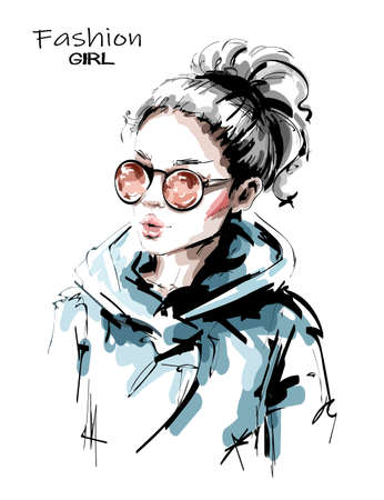 Hand drawn beautiful young woman in sunglasses. Stylish blonde hair girl. Fashion woman look. Female character with ponytail. Sketch. Vector illustration. 일러스트