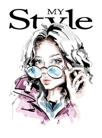 Hand drawn beautiful young woman in sunglasses. Stylish girl. Fashion woman look. Beautiful female face. Sketch. Vector illustration.