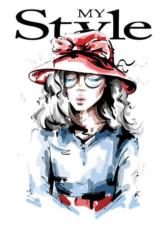 Hand drawn beautiful young woman in red hat. Stylish girl. Fashion woman look. Sketch. Vector illustration. 일러스트