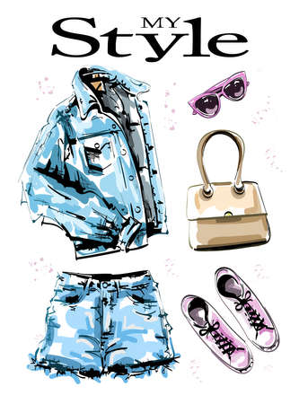Hand drawn stylish clothes set with jeans jacket, shorts, bag, shoes and sunglasses. Fashion outfit. Female clothing. Casual style. Sketch. Vector illustration. Vectores