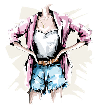 Hand drawn female body. Fashion outfit. Stylish woman look with shorts, shirt, jacket and accessories. Sketch. Vector illustration.