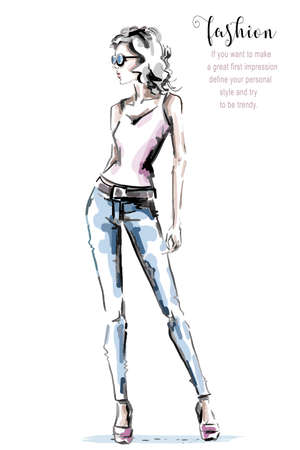 Hand drawn beautiful young woman in casual clothing. Stylish girl. Fashion woman look. Sketch. Vector illustration.