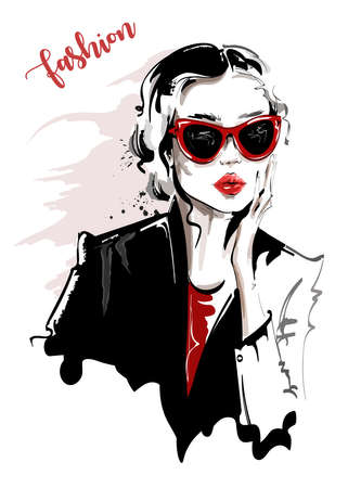 Hand drawn beautiful young woman in sunglasses. Stylish girl. Fashion woman look. Sketch. Vector illustration. Vectores