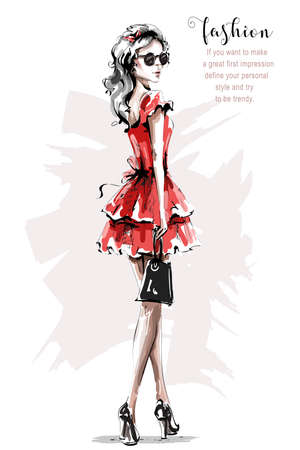 Hand drawn beautiful young woman in red dress. Stylish elegant girl. Fashion woman look. Sketch. Vector illustration.