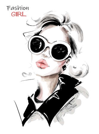 Hand drawn beautiful young woman in sunglasses. Stylish elegant girl. Fashion woman look. Sketch. Vector illustration. Vectores