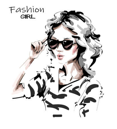 Hand drawn beautiful young woman in sunglasses. Lady in striped shirt. Stylish girl. Fashion woman look. Sketch. Vector illustration.