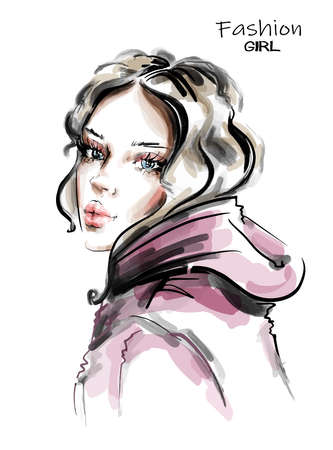 Hand drawn beautiful young woman. Stylish girl. Fashion woman look. Sketch. Vector illustration. Vectores