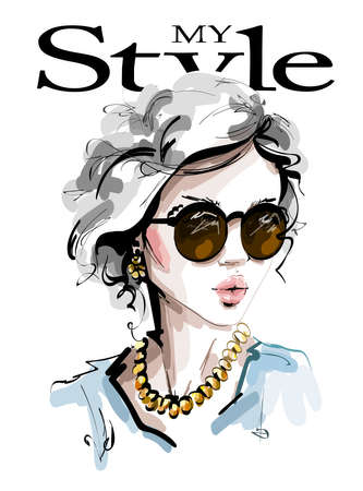 Hand drawn beautiful young woman in sunglasses. Stylish elegant girl. Fashion woman look. Sketch. Vector illustration. 일러스트