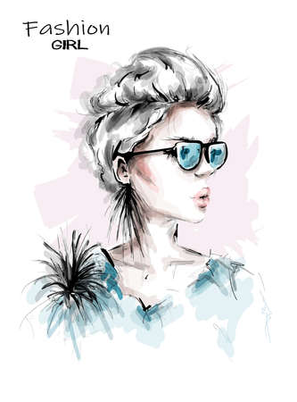 Hand drawn beautiful young woman in sunglasses. Stylish girl with short blonde hair. Fashion woman look. Sketch. Vector illustration.