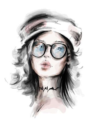 Hand drawn beautiful young woman in beret. Stylish girl in eyeglasses. Fashion woman look. Sketch. Vector illustration.