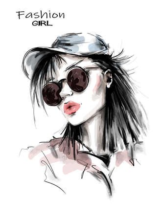 Hand drawn beautiful young woman in cap. Stylish girl in sunglasses. Fashion woman look. Sketch. Vector illustration.