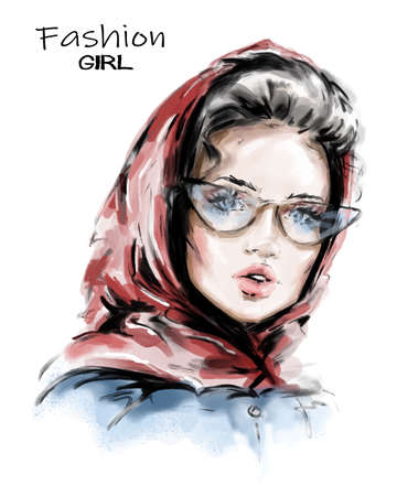 Hand drawn beautiful young woman in red scarf on her head. Stylish elegant girl. Fashion woman look. Sketch. Vector illustration.