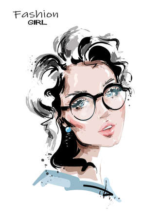 Hand drawn beautiful young woman with blonde hair. Stylish girl in eyeglasses. Fashion woman look. Sketch. Vector illustration.