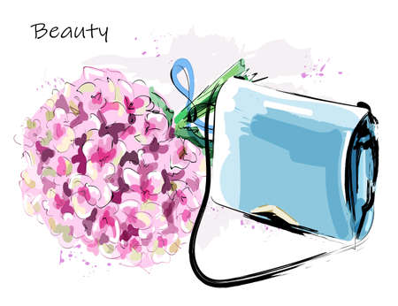 Hand drawn cute set with fashion bag and flowers. Beautiful hydrangea. Stylish female bag. Sketch. Vector illustration.