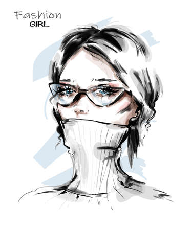 Hand drawn beautiful young woman in eyeglasses. Stylish elegant girl. Fashion woman look. Sketch. Vector illustration.