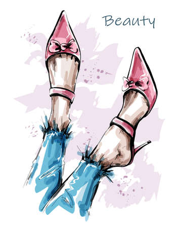Hand drawn beautiful female legs with pink shoes. Fashion shoes. Sketch. Vector illustration.