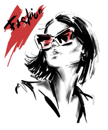 Hand drawn beautiful young woman in sunglasses. Stylish elegant girl. Fashion woman look. Sketch. Vector illstration.