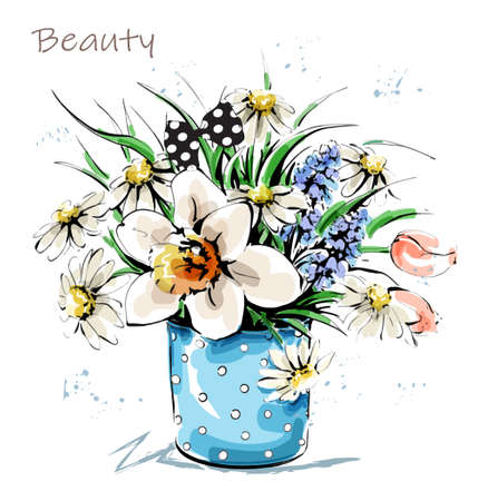 Hand drawn beautiful flowers in vase. Cute flower bouquet. Sketch. Vector illustration.