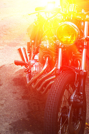 Part of the motorcycle. Close up. Soft lighting effect, vintage Stock Photo