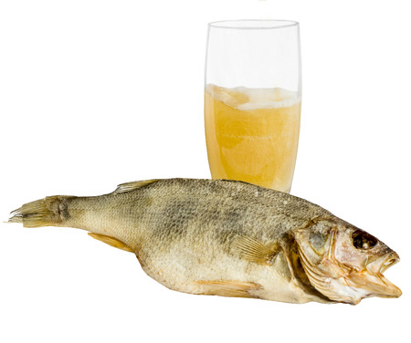dried fish perch, cold beer, dried fish used as snacks for beer Stock Photo