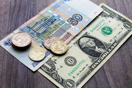 two us dollar: Russian money and the US dollar, the concept of the two countries Stock Photo