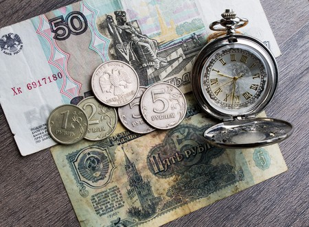 the ussr: money of the USSR, Russian money, time hours Stock Photo