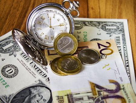 pocket watch, dollar Belarusian money Background, new money in Belarus. Denomination in Republic of Belarus 2016.