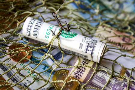 Belarusian money, dollar, fishing net. Without effort you wont catch fish from a pond. Stock Photo