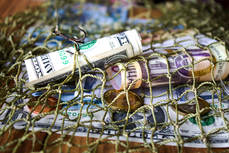 minsk: Belarusian money, dollar, fishing net. Without effort you wont catch fish from a pond. Stock Photo