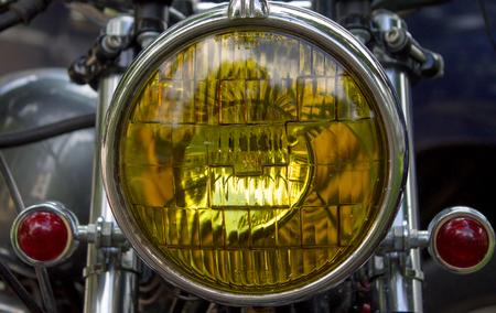 オートバイの一部です。クローズ アップ。ヘッドライト 写真素材