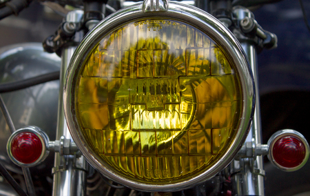 Part of the motorcycle. Close up. headlight Stok Fotoğraf