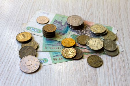 Old coins close up, Russian coins akntikvariat background