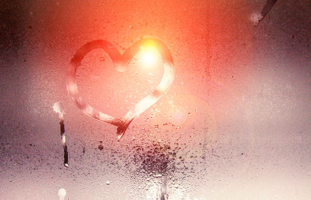 tonality: The inscription on the sweaty glass - love and heart. St. Valentines Day. Effect of a tonality soft light
