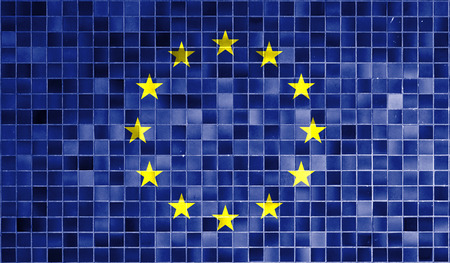 retrospect: European Union flag in the old retro background effect, close up