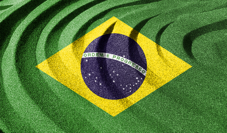 Brazilian flag in the old retro background effect, Close up Stock Photo