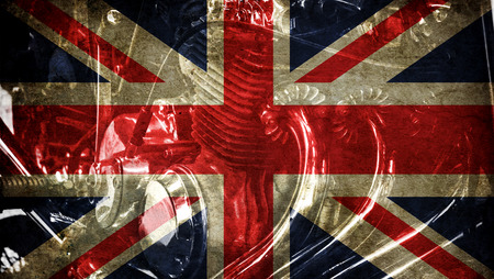 rust red: Great britain flag on old background retro effect, close up Stock Photo